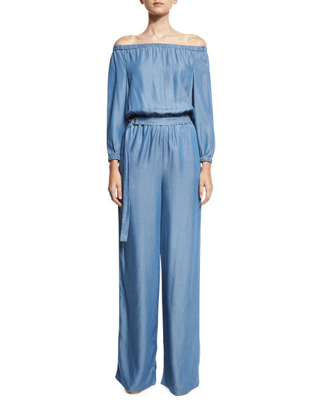 MICHAEL Michael Kors Long-Sleeve Off-the-Shoulder Jumpsuit, Blue