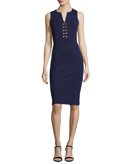 MICHAEL Michael Kors Sleeveless Lace-Up Power Dress, Navy