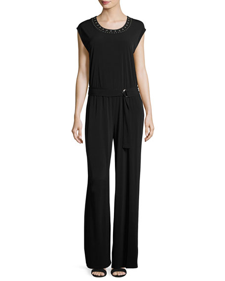 Cap-Sleeve Studded Round-Neck Jumpsuit, Black
