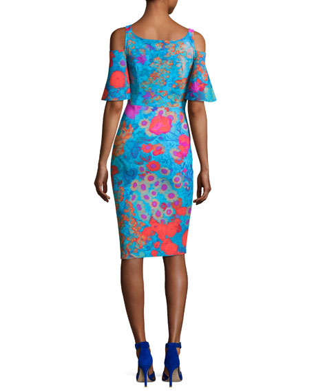 Lupe Cold-Shoulder Floral Jersey Cocktail Dress, Royal Garden Turquoise