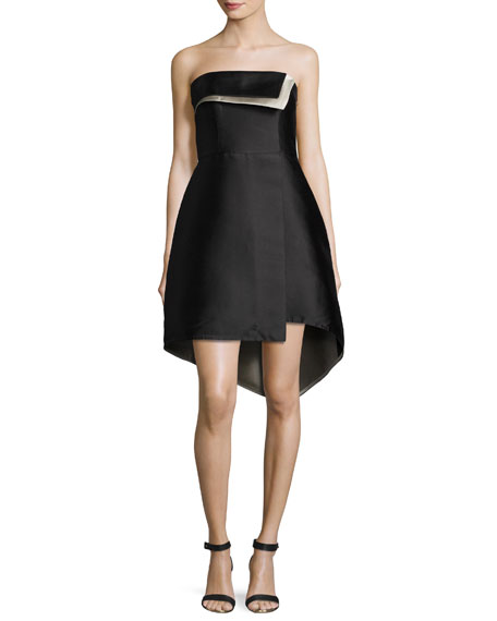 Folded Strapless High-Low Cocktail Dress, Black/Champagne