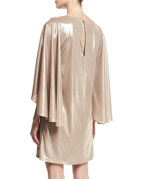Metallic Jersey Cape-Sleeve Dress, Champagne