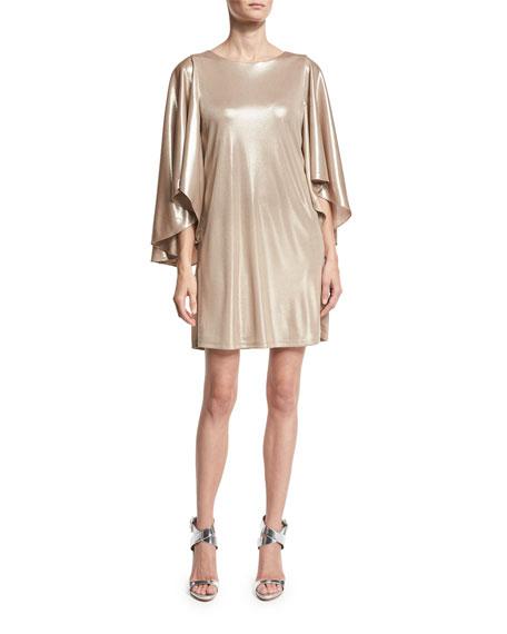 Metallic Jersey Cape-Sleeve Dress, Champagne