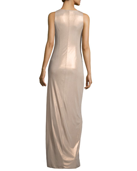 Sleeveless Knot-Front Jersey Gown, Metallic Champagne