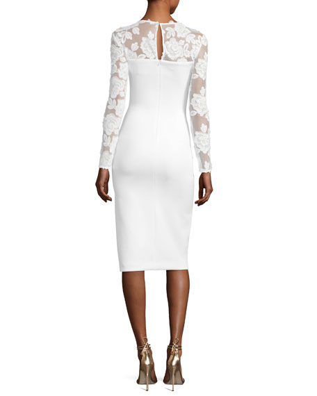 Zuri Long-Sleeve Scuba Cocktail Dress, Whip Cream