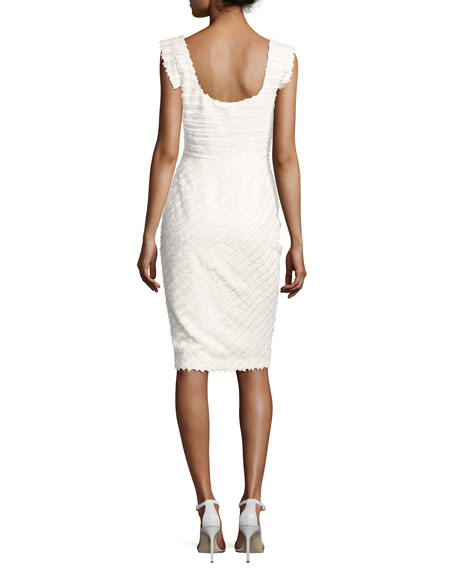 Jackie Anniversary Textured Cocktail Dress, Infinite Bias White
