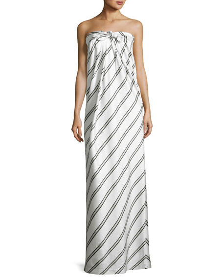 Halston Heritage Striped Strapless Knot-Front Gown, White/Black