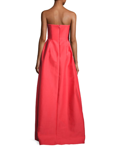 Strapless Pleated Sateen Gown, Poppy