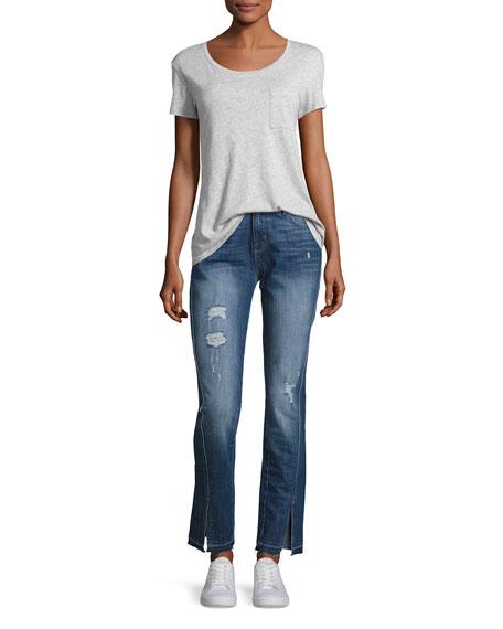 Seam Straight-Leg Jeans, Medium Blue