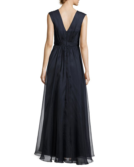 Sleeveless Embellished Silk Organza Ruffle Gown, Navy