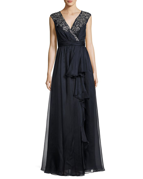 Badgley Mischka Sleeveless Embellished Silk Organza Ruffle Gown,