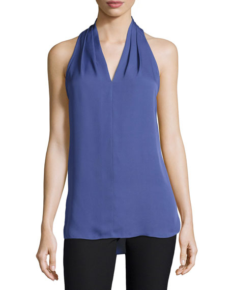 Kobi Halperin Lucia Sleeveless Pleated V-Neck Silk Blouse,