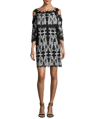 Kobi Halperin Reanna Cold-Shoulder Lace-Trim Popover Dress, Black/White