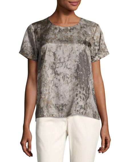 Eileen Fisher Tidewater Short-Sleeve Printed Silk Top, Mocha