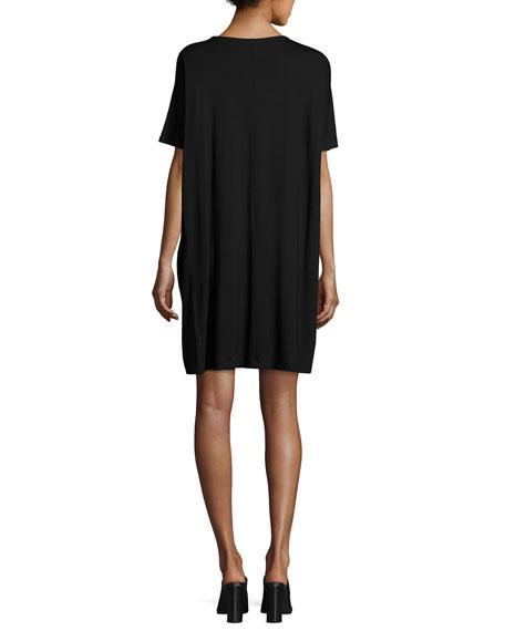 Eileen Fisher Short-Sleeve Lightweight Jersey Dress, Black