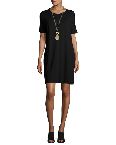 Short-Sleeve Lightweight Jersey Dress, Black