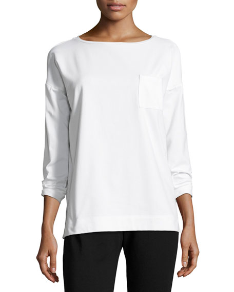 Bateau-Neck Stretch-Jersey Box Top w/ Pocket