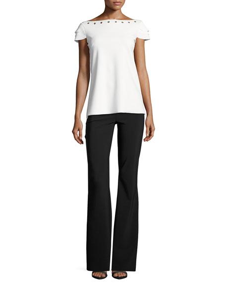 Natuzza Tiered-Sleeve Jersey Grommet Top, White