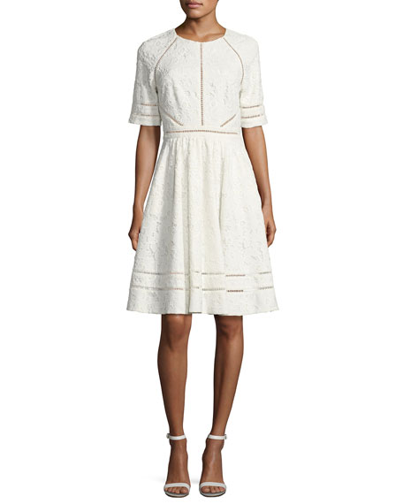 Badgley Mischka Short-Sleeve Floral Lace Novelty Dress, Light