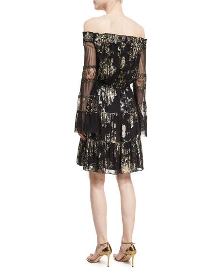 Ainsley Off-the-Shoulder Metallic Dress