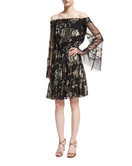 Kobi Halperin Ainsley Off-the-Shoulder Metallic Dress