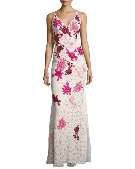 Sleeveless Embroidered Floral Lace Slip Gown, White/Multicolor