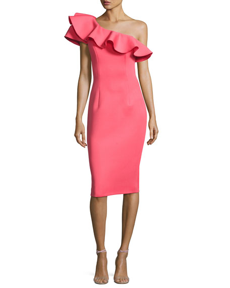 Jovani One-Shoulder Ruffle Scuba Cocktail Dress, Watermelon