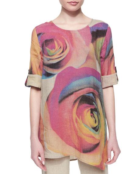 Caroline Rose Big Rose-Print Linen Tunic, Petite