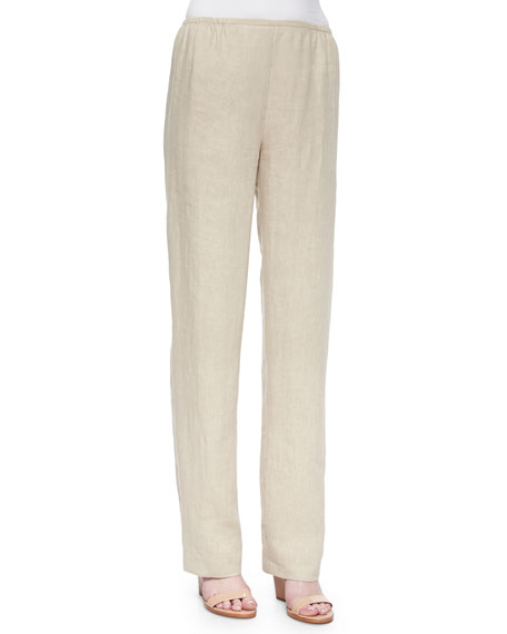 Tissue Linen Straight-Leg Pants, Petite