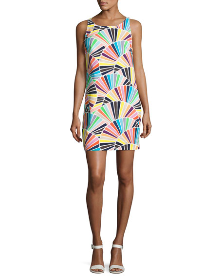 Cosme Sleeveless Geometric Shift Dress, Multicolor
