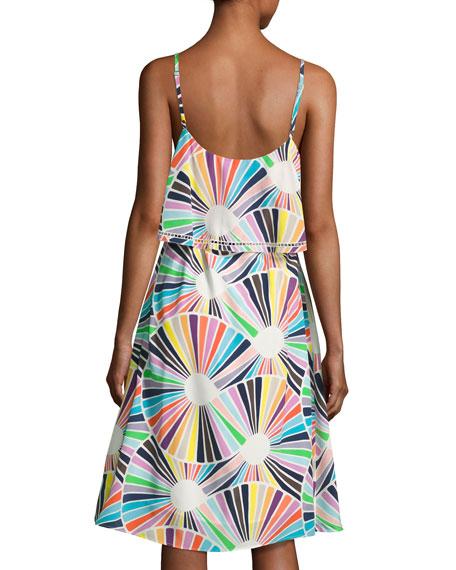 Isabel Sleeveless Geometric Silk Popover Dress, Multicolor