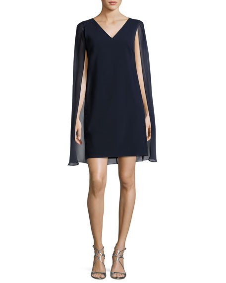 Socio Cape Cocktail Dress, Indigo