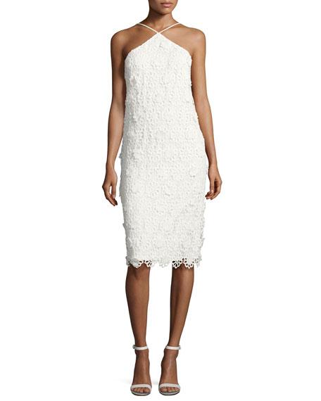 Conga Sleeveless 3D Lace Cocktail Dress, Whitewash