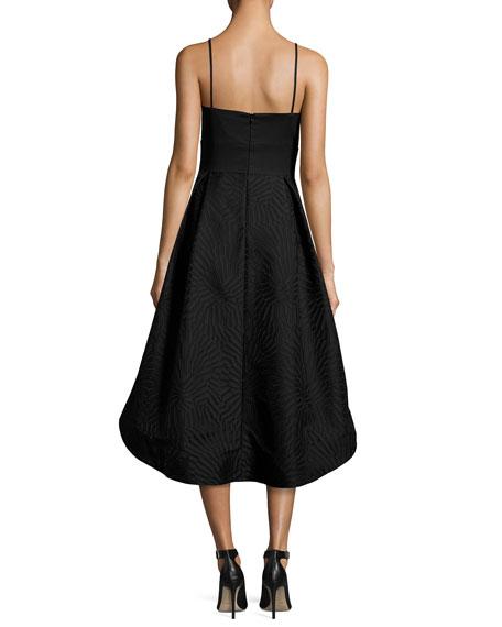 Ashbury Crepe & Jacquard High-Low Cocktail Dress, Black