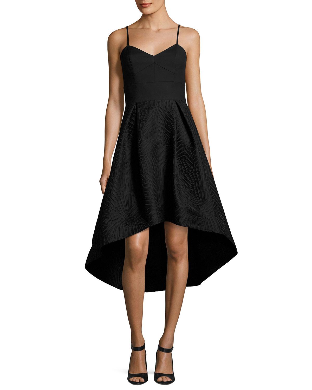 Shoshanna Ashbury Crepe Jacquard High Low Cocktail Dress Black
