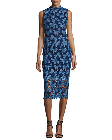 Monticello Sleeveless Floral Lace Cocktail Dress, Azure/Navy