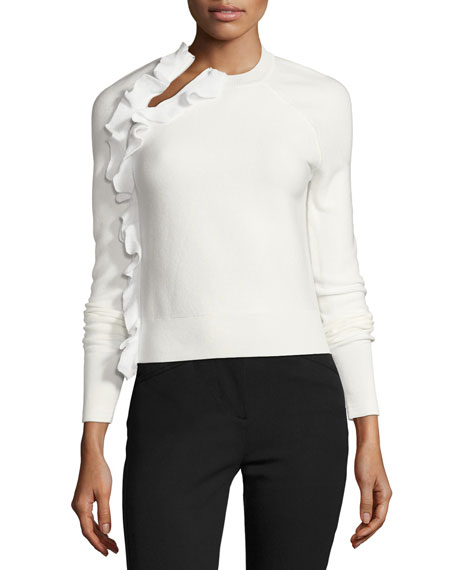 Solid Ruffle Long-Sleeve Pullover Top, White