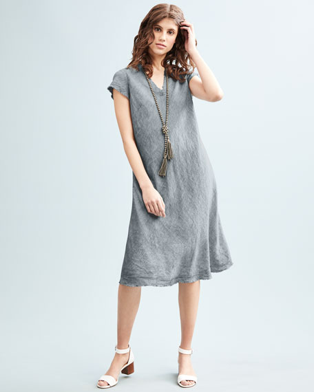 Yarn-Dyed Handkerchief Dress, Medium Blue