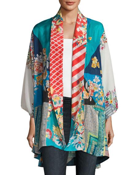 Johnny Was Mixed-Print Habutai Kimono Jacket