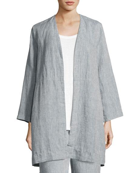Eileen Fisher Yarn Dyed Handkerchief Linen Long Jacket,