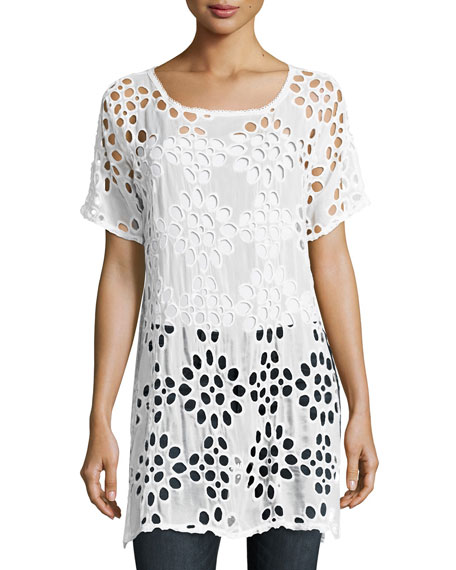 Johnny Was Lalla Long Eyelet Tunic, White, Plus
