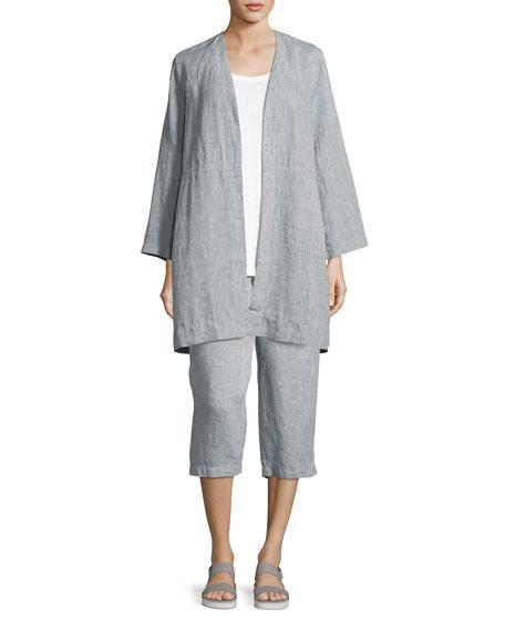 Yarn Dyed Handkerchief Linen Cropped Pants, Medium Blue