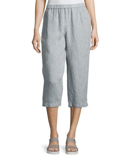 Eileen Fisher Yarn Dyed Handkerchief Linen Cropped Pants,