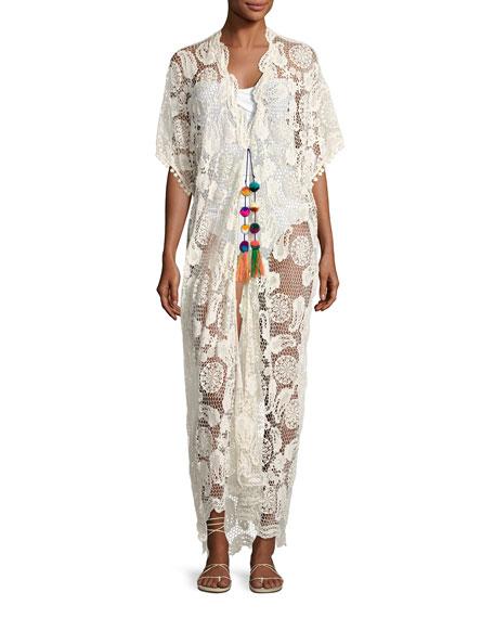 Miguelina Priscilla Mirage Paisley Lace Kimono, Neutral