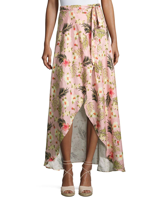 86e07029413 Miguelina Ballerina Printed Long Wrap Linen Skirt