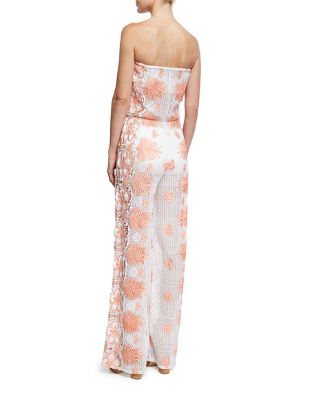 Piper Tropical Scallop Lace Jumpsuit, White