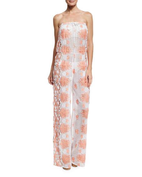 Miguelina Piper Tropical Scallop Lace Jumpsuit, White