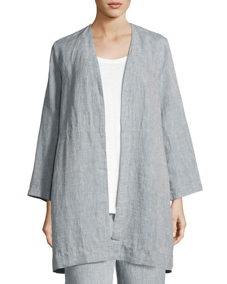 Yarn Dyed Handkerchief Linen Long Jacket, Chambray, Plus Size
