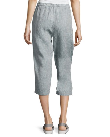 Yarn Dyed Handkerchief Linen Cropped Pants, Chambray, Petite