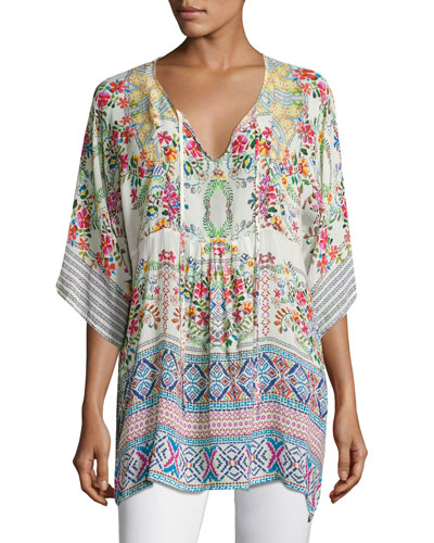 Floral-Print Bias Tie-Neck Top, White Multi, Plus Size